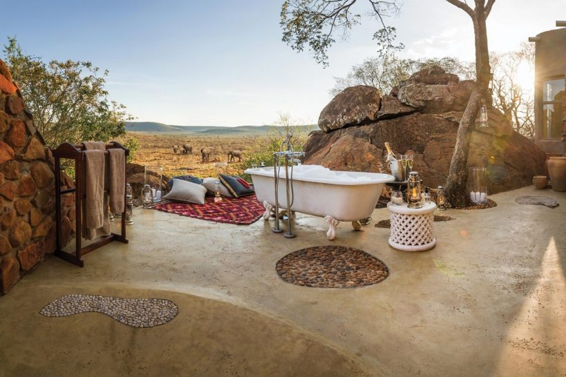 Madikwe Hills Private Game Lodge South Africa outdoor bath