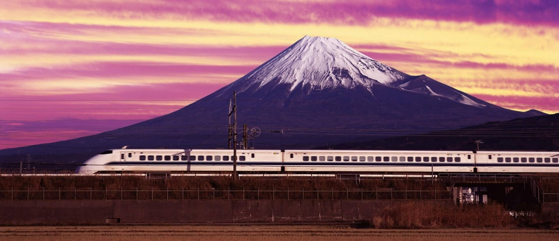 Shinkansen bullet train and Mt. Fuji, Japan