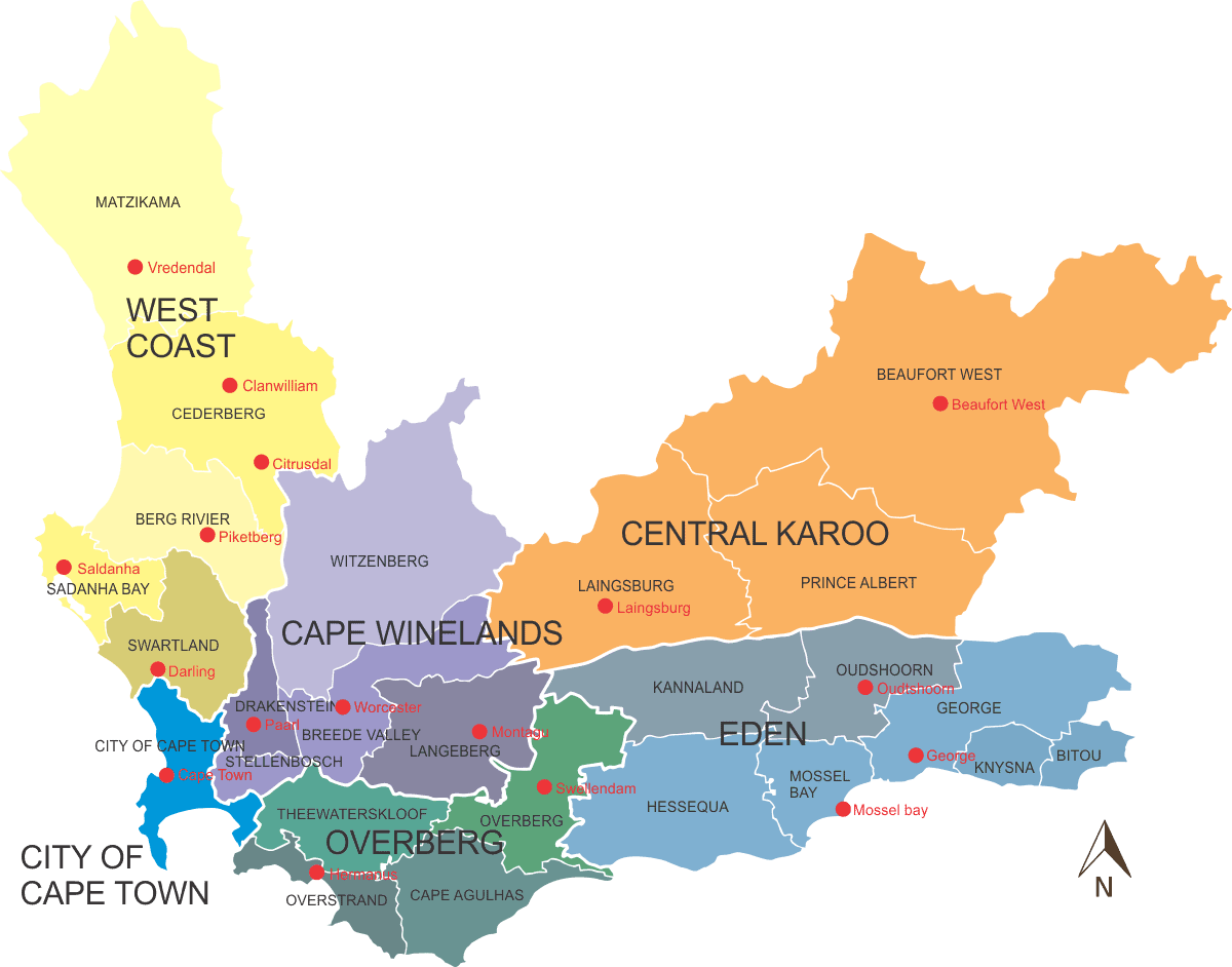 Map of Western Cape Municipal Districts, South Africa