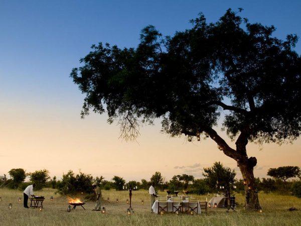 AndBeyond Ngala Safari Lodge bush dinner