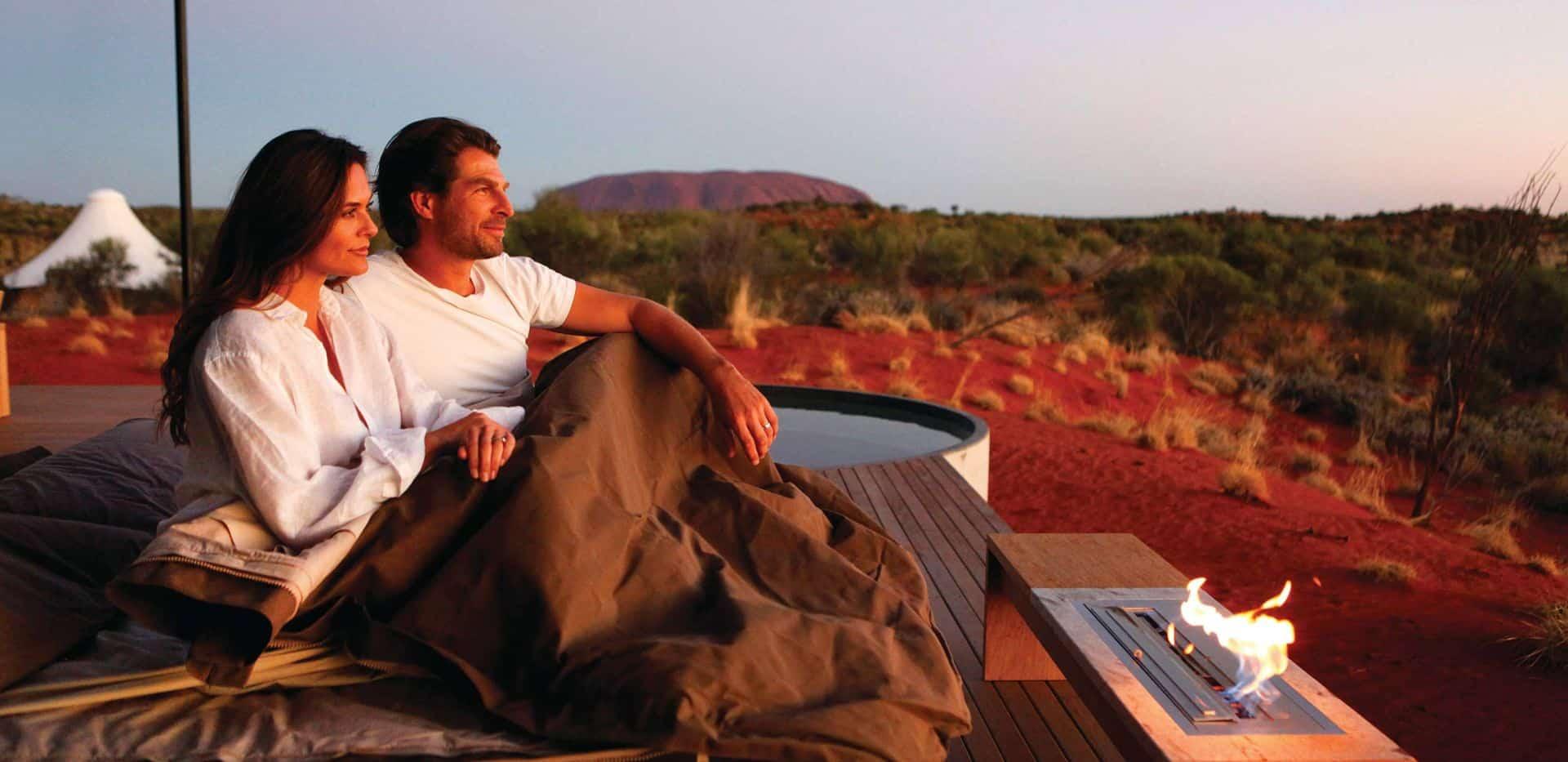 Dune Pavilion Outdoor Bedroom at Longitude 131 Uluru