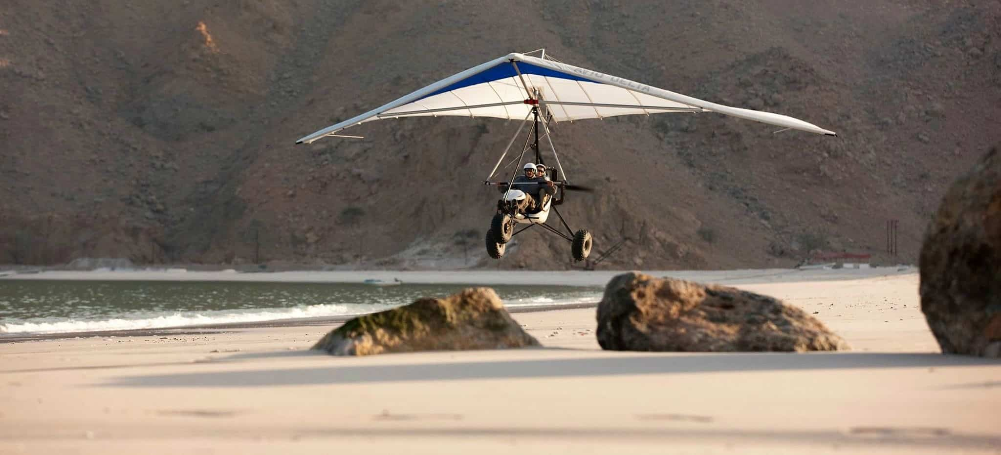 Microflight arrival into Six Senses Zighy Bay Oman