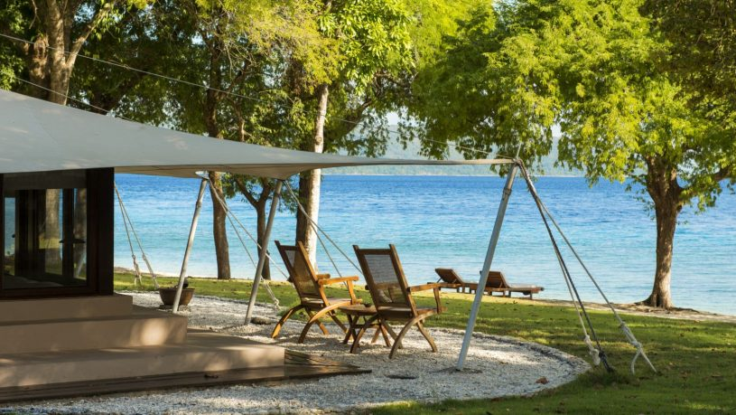 Ocean front tent with view across Moyo Island Bay towards the Flores Sea