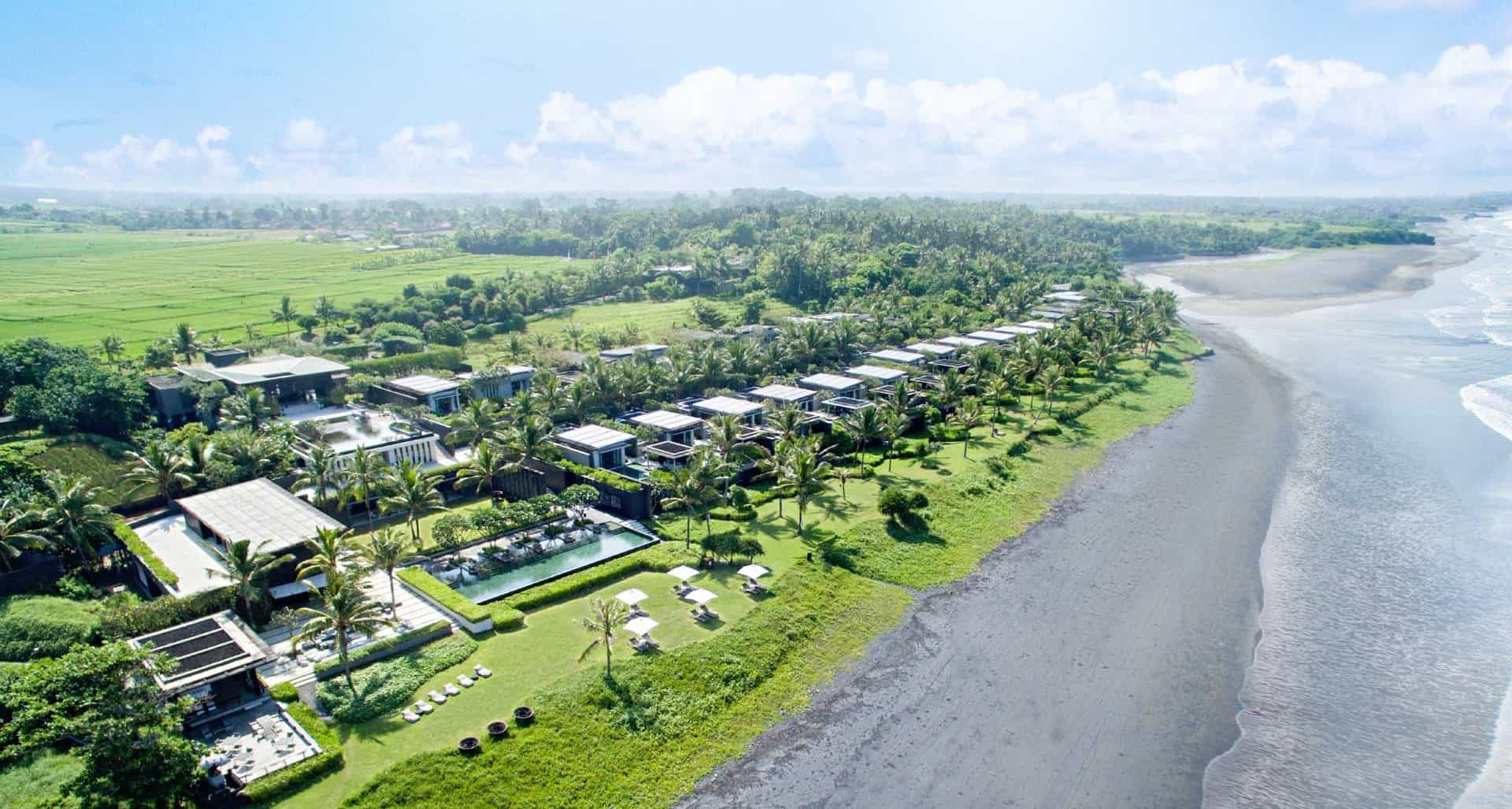 Soori Bali beachfront black sand panorama