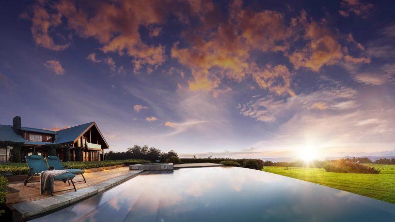 Spicers Peak Lodge Australia Pool Sunset
