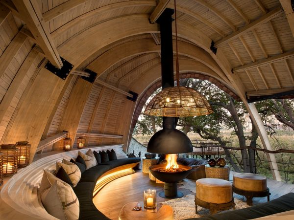 AndBeyond Sandibe Okavango Safari Lodge Cosy Fireplace