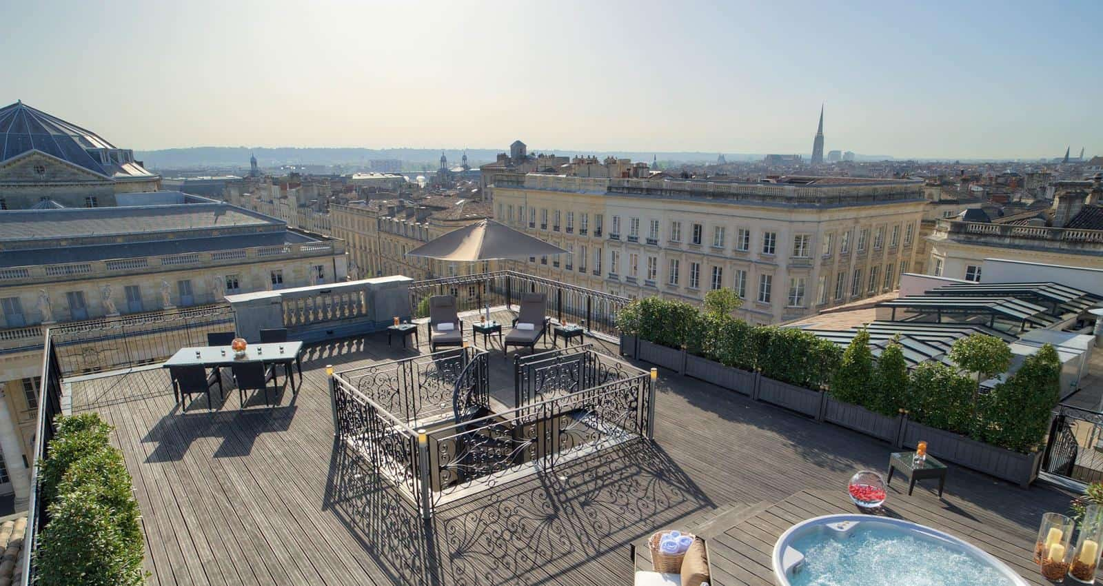 View of Bordeaux from the Night Beach Rooftop Lounge