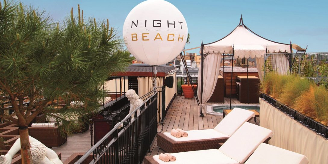 Night Beach Rooftop Lounge Relaxation Area