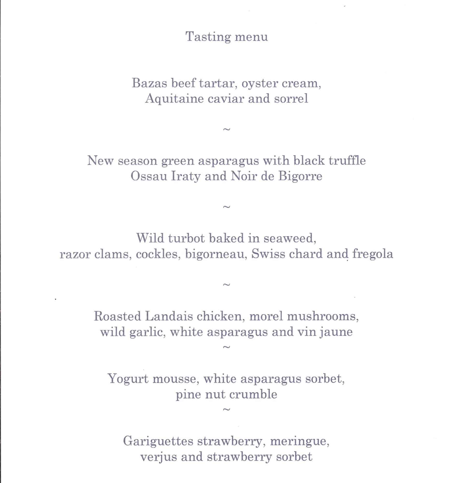 Tasting menu at Le Pressoir d'Argent