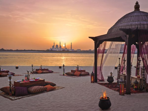 Shangri-La Hotel, Qaryat Al Beri, Abu Dhabi romantic sunset beach dinner