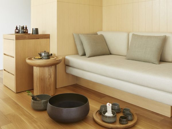 Treatment Detail Featuring Foot Bathing Bowl, Ingredients Such As Japanese Herbs And Wasabi And Essential Oils