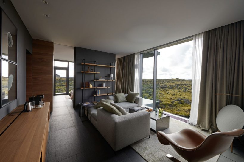 The Retreat at Blue Lagoon Iceland Moss And Lagoon Moss Suite Living Room Area