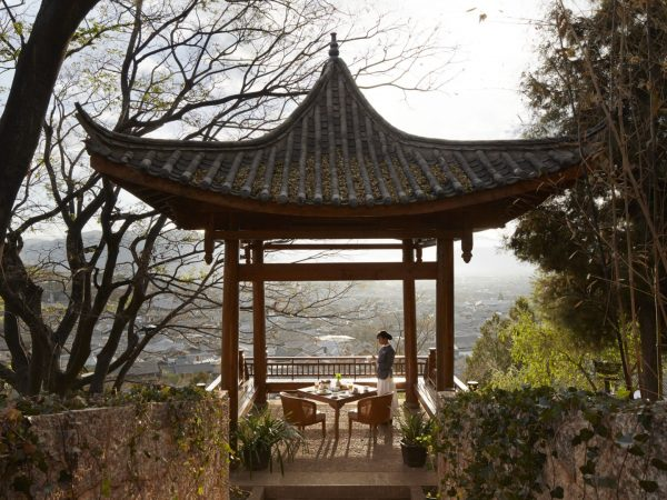 Outdoor pavilion with Old Town views