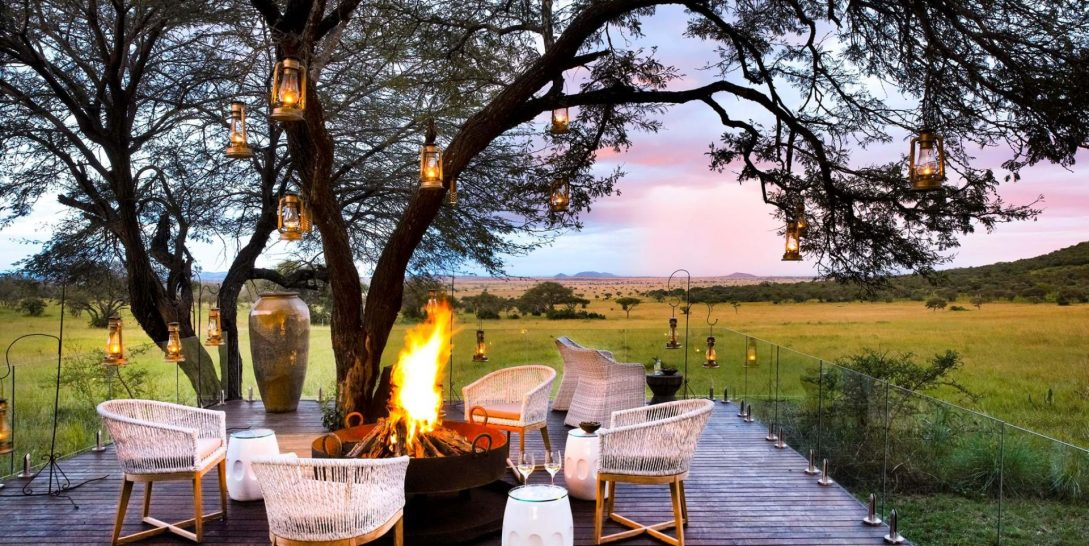 Singita Serengeti House firepit dining