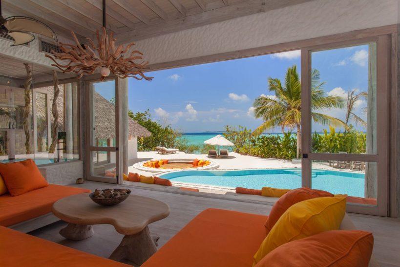 Soneva Fushi Villa One relaxing area seaview by Sandro Bruecklmeier