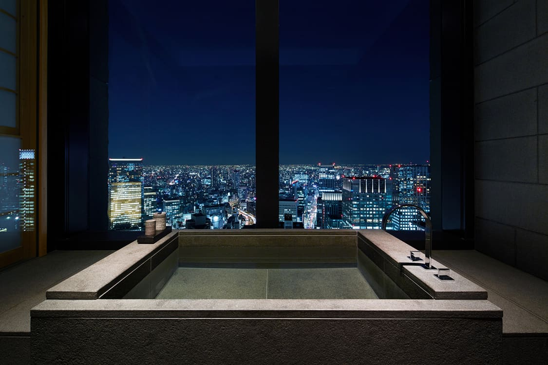 Aman Tokyo Furo soaking tub in suite