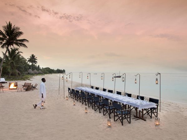 AndBeyond Benguerra Island beach dining