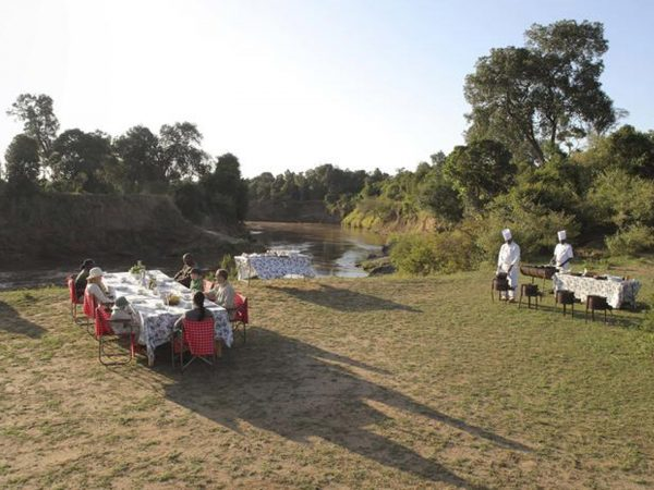 AndBeyond Kichwa Tembo Tented Camp dinner.