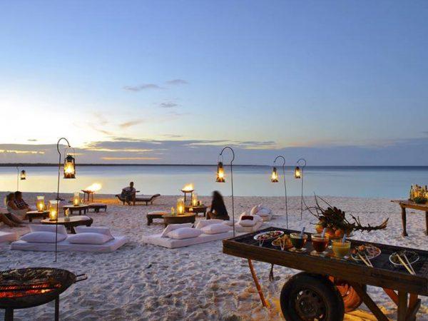 AndBeyond Mnemba Island Lodge beach dining