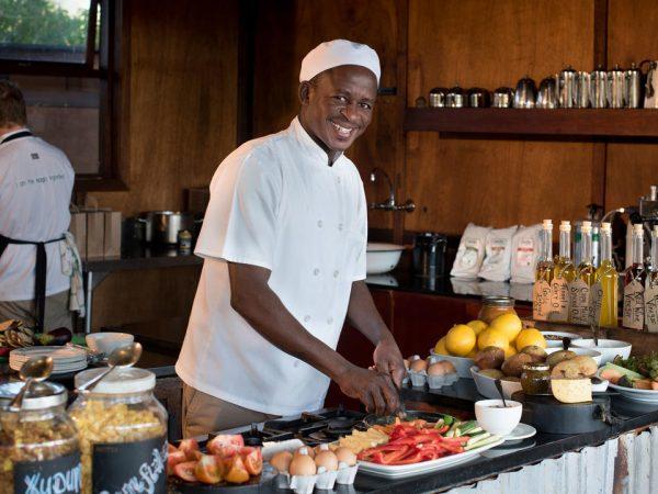 AndBeyond Xudum Okavango Delta Lodge chefs and interactive kitchen