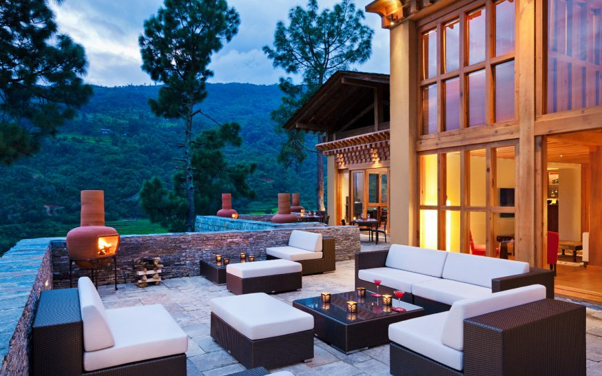 COMO Uma Punakha Outdoor Terrace Evening