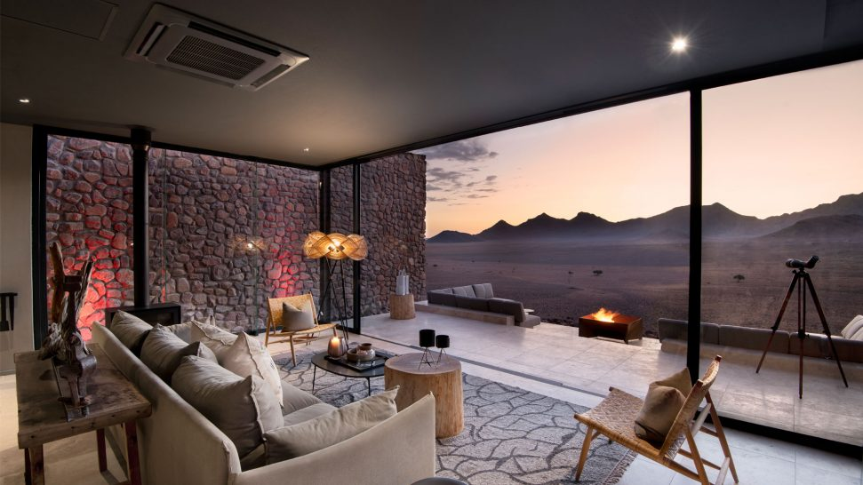 Indoor lounge Star Dune Suite andBeyond Sossusvlei