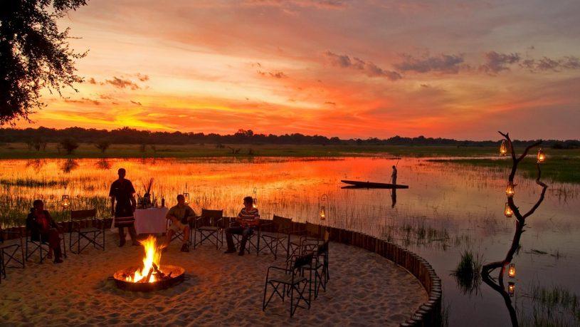 Sanctuary Retreats Chiefs Camp Sunset Okavango Delta Botswana