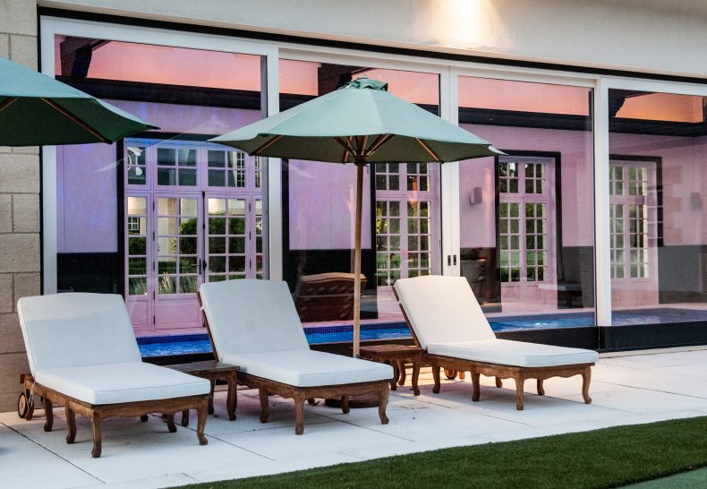 Chateau du Coudreceau Sun Loungers Beside Swimming Pool and Putting Green