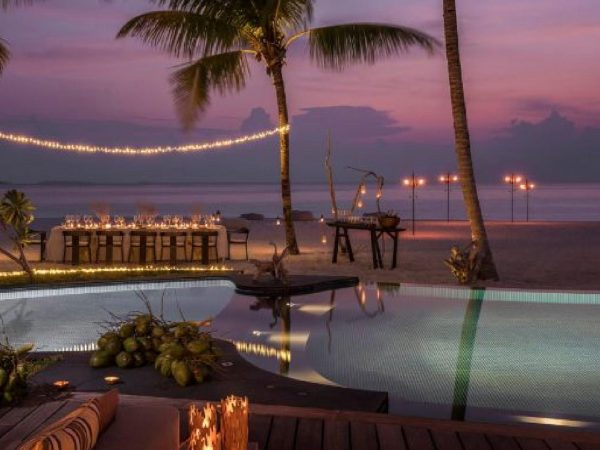Four Seasons maldives private island at voavah beach barbecue lit