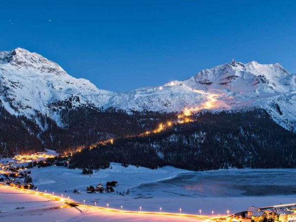 Kulm Hotel St. Moritz Night-skiing on the Corvatsch