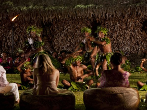Laucala Island Fijian Cultural Night War Club Dance Performance