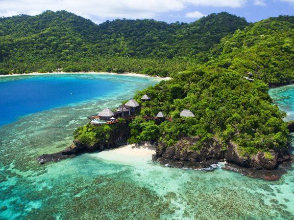 Laucala Island Peninsula Villa Aerial Seagrass Bay Hero Shot