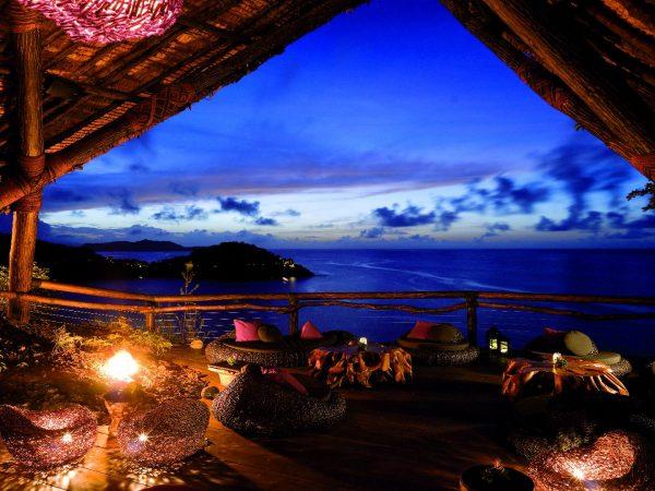 Laucala Island Rock Lounge at Sunset