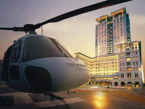 The Peninsula Hong Kong Exterior with helicopter