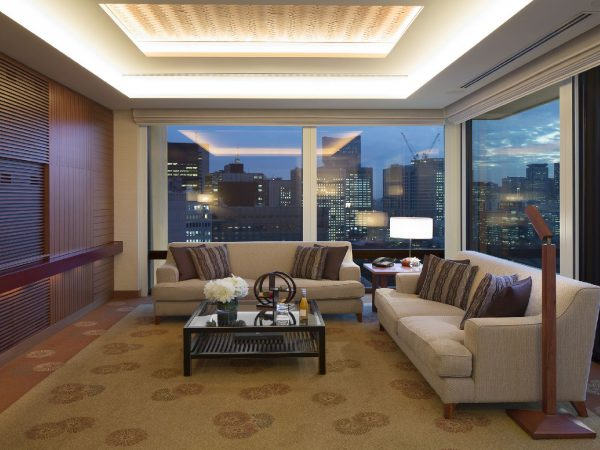 The Peninsula Tokyo Deluxe Suite Living Room Area Night