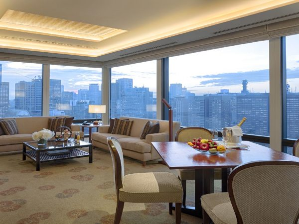 The Peninsula Tokyo Deluxe Suite Living Room Dusk