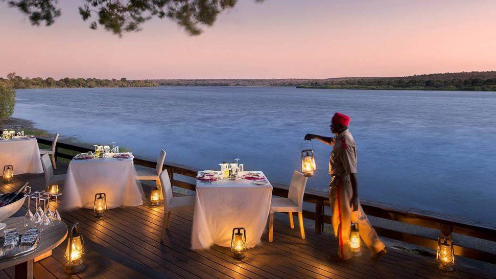 Royal Chundu Zambezi River Lodge Dining on the deck
