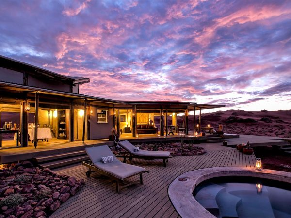 Wolwedans Dunes Lodge Namibia Pool Deck Sunset