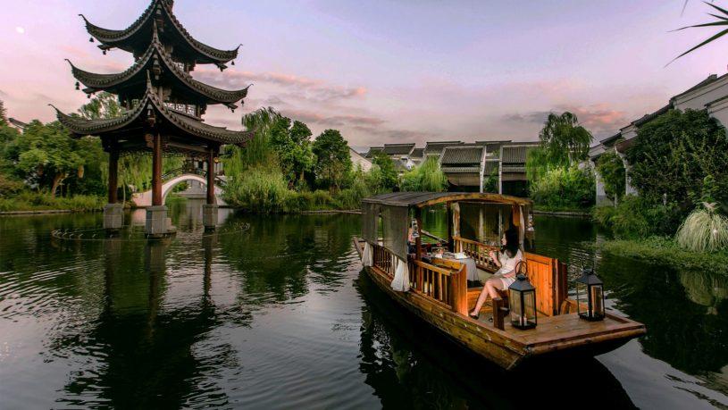 Banyan Tree Hangzhou dining on boat