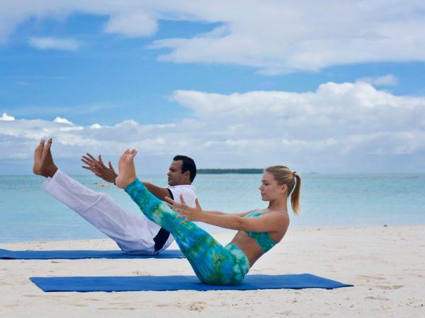 Conrad Maldives Rangali Island Beach yoga