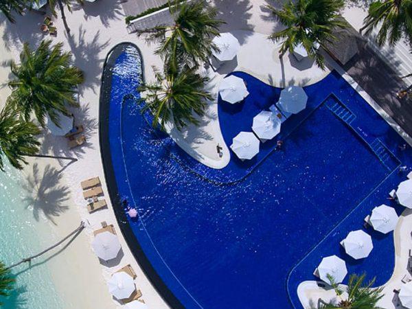 Conrad Maldives Rangali Island Infinity Pool Aerial View