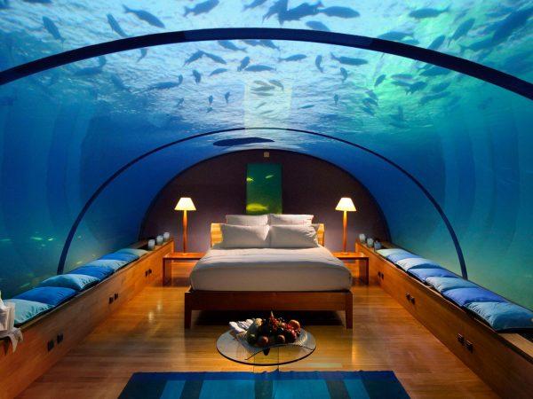 Conrad Maldives Rangali Island Muraka underwater villa bedroom
