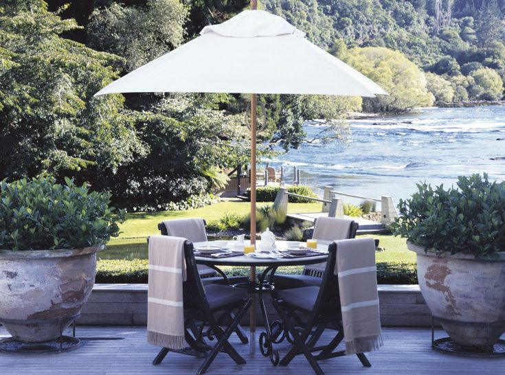 Huka Lodge New Zealand Riverside terrace dining