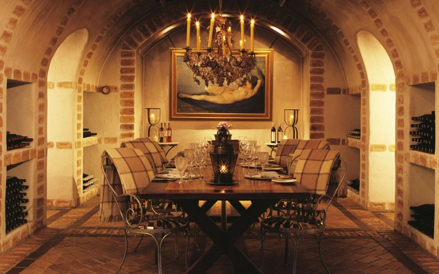 Huka Lodge New Zealand Wine cellar dining
