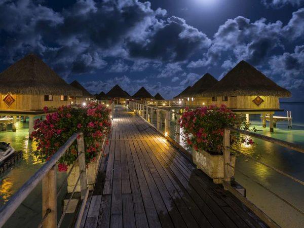 InterContinental Le Moana Bora Bora Lobby Night View