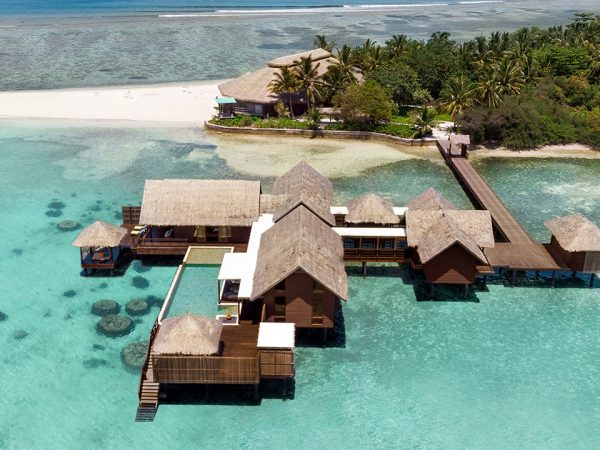 Shangri La's Villingili Resort and Spa Maldives Aerial View