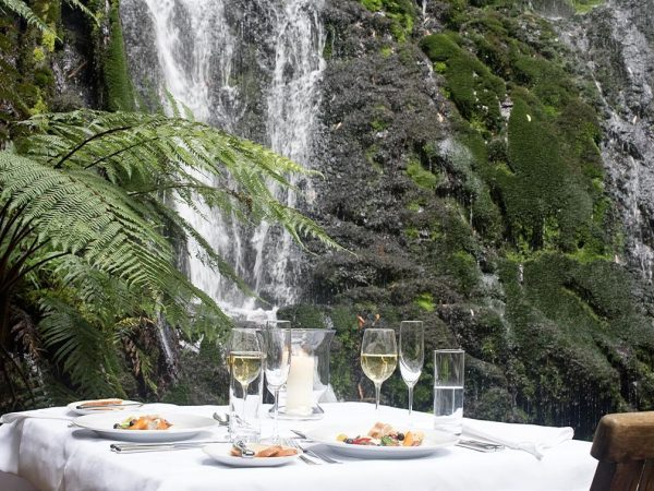 Treetops Lodge Estate Bridal Veil Dining Under The Waterfall Landscape