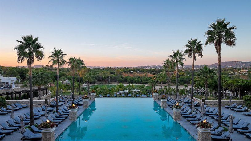 Conrad Algarve pool at dusk