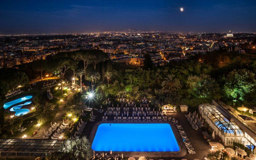 Rome Cavalieri Waldorf Astoria Resort overview nighttime