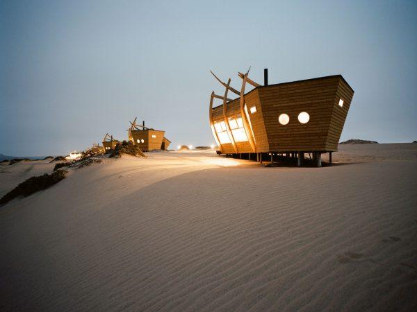 Shipwreck Lodge rooms at night